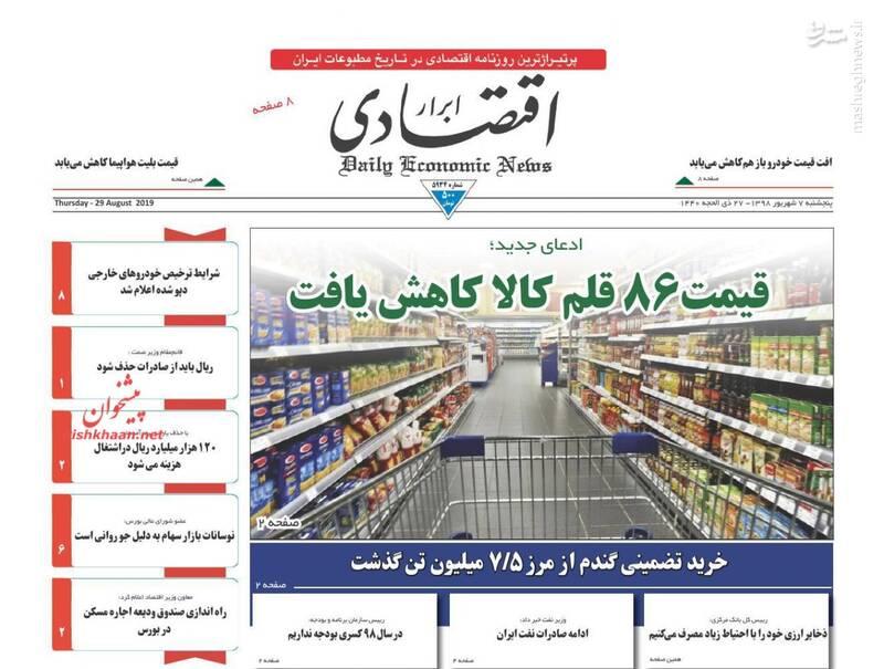 ابرار اقتصادی: قیمت ۸۶ قلم کالا کاهش یافت