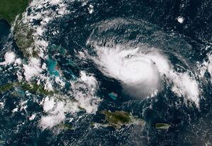 تصویر ماهواره ای از طوفان ویرانگر در مسیر فلوریدا