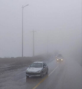 بارش باران و مه شدید در گردنه حیران
