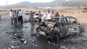 حادثه وحشتناک زنده زنده سوختن ۳ نفر در تصادف پراید با پژو ۲۰۶
