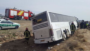 فیلم/ برخورد دو اتوبوس در جاده چیتگر
