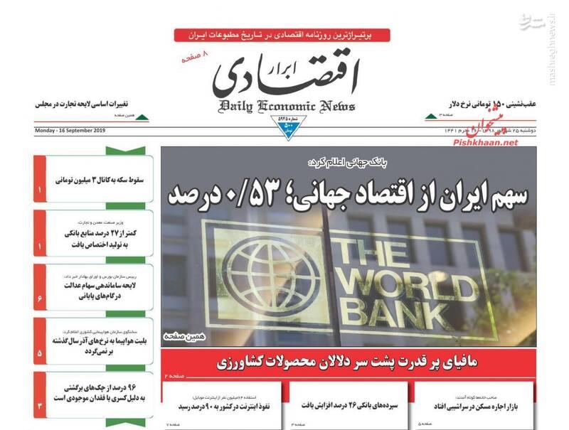 ابراراقتصادی: سهم ایران از اقتصاد جهانی؛ ۰/۵۳درصد