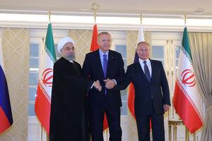 عکس یادگاری روحانی، اردوغان و پوتین