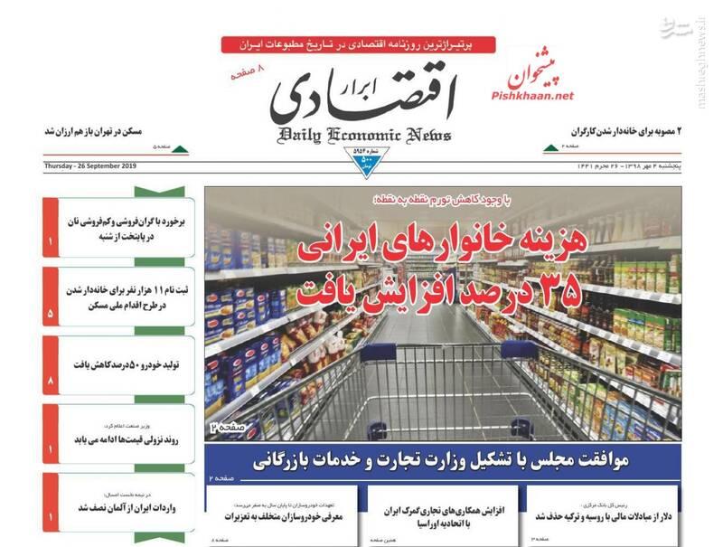 ابرار اقتصادی: هزینه خانوارهای ایرانی ۳۵ درصد افزایش یافت