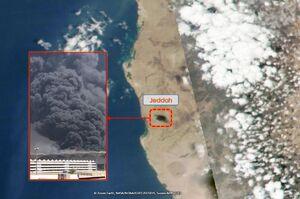 تصویر ماهوارهای از دود آتشسوزی ایستگاه قطار در جده