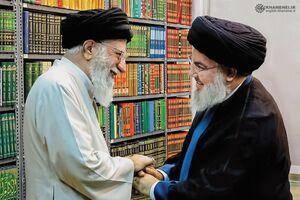 سید حسن نصرالله در کتابخانه رهبرانقلاب