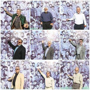 شهدای زنده در کنار تصاویرشان در جبهه