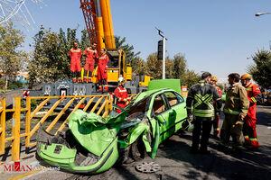 تصاویر جدید از محل سقوط جرثقیل در تهران