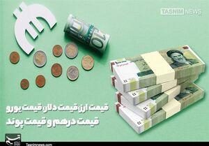 قیمت ارز| قیمت دلار، قیمت یورو، قیمت دینار عراق و قیمت درهم امروز ۹۸/۰۷/۱۷
