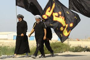 عکس/ زوار مناطق جنوبی عراق در مسیر کربلا