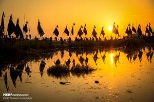 پیاده روی زائران اربعین درمناطق جنوبی عراق