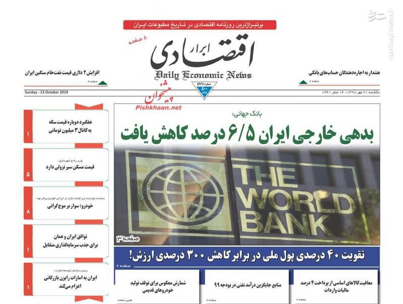 ابرار اقتصادی: بدهی خارجی ایران ۶/۵ درصد کاهش یافت