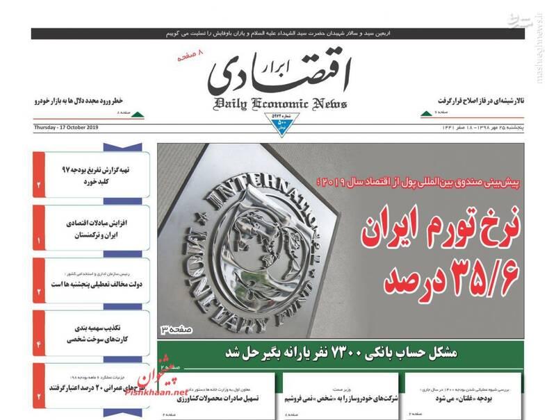 ابرار اقتصادی: نرخ تورم ایران ۳۵/۶درصد