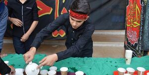 مشق عشق دانشآموزان در موکبهای حسینی +عکس
