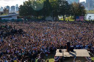 گردهمایی انتخاباتی برنی سندرز پس از حمله قلبی