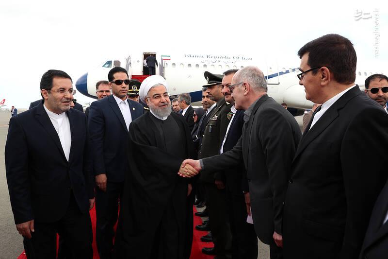 عکس/ استقبال از در فرودگاه باکو