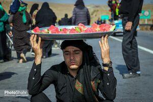 عکس/ هندوانه نذری برای زائران پیاده روی مشهد