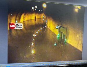 تصویری از تونل امیرکبیر که براثر بارندگی مسدود شده است