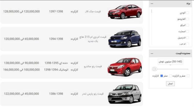 قیمت خودرو کارکرده از 40 تا 150 میلیون تومان در سایت z4car.com
