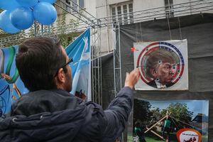 """عکس/ """"ترامپ""""سیبل دانشآموزان تهرانی"""