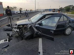 عکس/ درهم پیچیده شدن اتاقک پژو پس از تصادف شدید با سمند