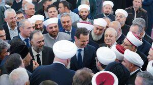 حضور بشار اسد، رئیسجمهور سوریه در مسجد «المرابط» دمشق به مناسبت میلاد پیامبر اکرم (ص)