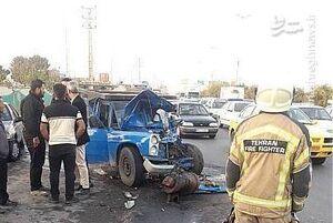 عکس/ تصادف شدید نیسان با اتوبوس