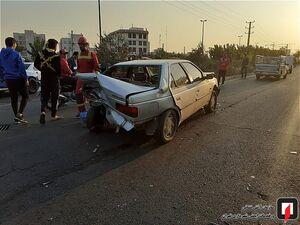 عکس/ تصادف زنجیرهای 8 خودرو با یکدیگر