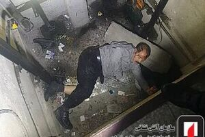 عکس/ سقوط سه طبقهای مردی در چاهک آسانسور
