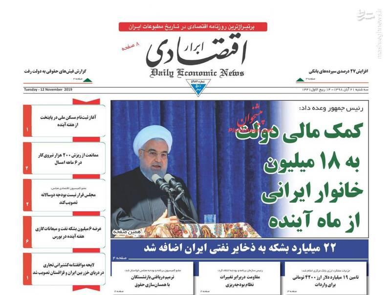 ابراراقتصادی: کمک مالی دولت به ۱۸ میلیون خانوار ایرانی از ماه آینده