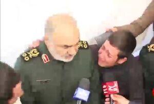 گریه سردار سلامی پس از صحبت های سوزناک جوان زلزله زده
