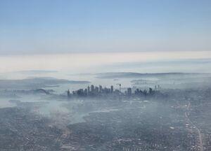 تصویر هوایی از سیدنی غرق در دود