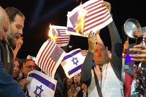 به آتش کشیدن پرچم آمریکا و رژیم صهیونیستی توسط لبنانیها