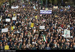 رود خروشان مردم بصیر ایران در اعتراض به آشوبها
