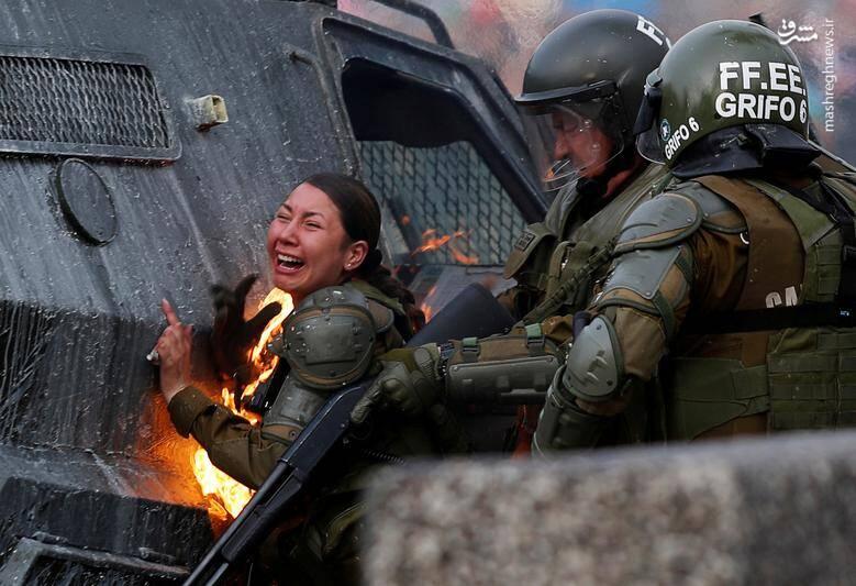 اعتراضات ضددولتی در شهر سانتایگو شیلی/ 4 نوامبر 2019