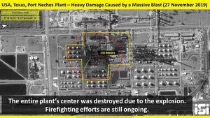 تصویرماهوارهای از انفجار کارخانه مواد شیمیایی در تگزاس