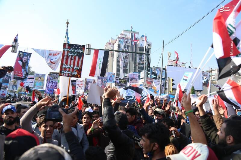 تظاهرات مردمی در مقابله با نفوذ آشوبگران در میدان التحریر بغداد