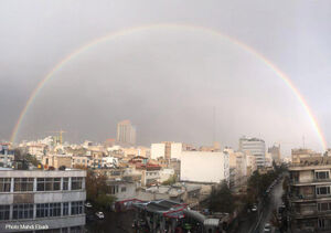 تصویری زیبا از رنگینکمان در آسمان تهران