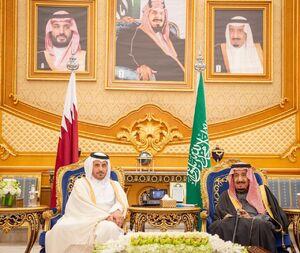 استقبال شاه سعودی از نخستوزیر قطر
