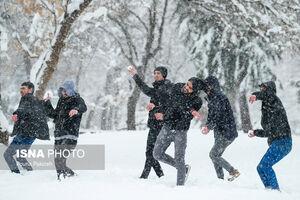 عکس/ بارش برف در آخرین روزهای پاییز همدان