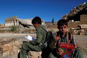 عکس/ تحصیل زیر سایه جنگ