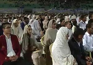 فیلم/ سردار نقدی در مراسم ازدواج 1500 زوج هرمزگانی