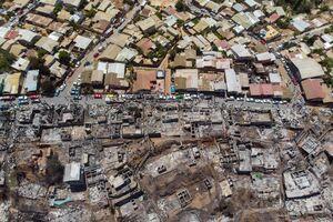 تصویر هوایی از خسارت آتش سوزی در شیلی
