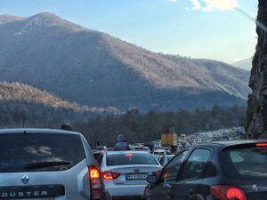 ترافیک در جاده هراز به سمت تهران