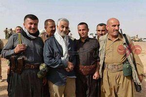 حاج قاسم سلیمانی در میان پیشمرگان کرد عراقی