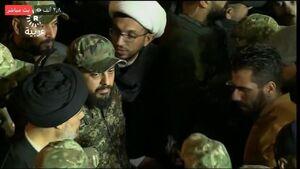عکس/ حضور قیس الخزعلی با لباس نظامی در تشییع شهدا