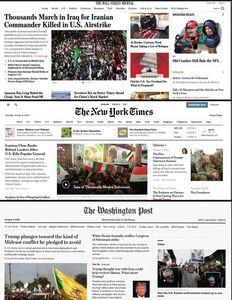 بازتاب تشییع سردار سلیمانی در صفحه نخست روزنامههای آمریکا +عکس