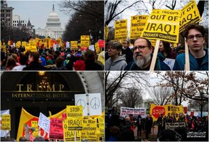 تجمع معترضان ضدجنگ مقابل کاخ سفید و هتل ترامپ در واشنگتن