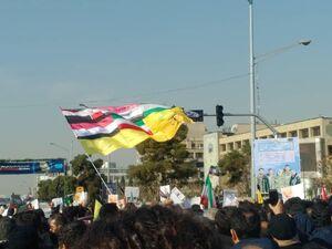 عکس/ پرچم کشورهای محور مقاومت در مراسم تشییع
