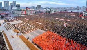 راهپیمایی بزرگ ضد آمریکایی مردم کره شمالی +عکس